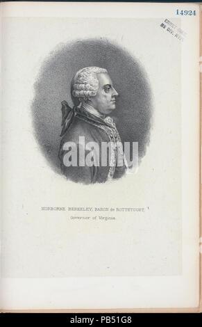 1112 Norborne Berkeley, Baron de Bottetourt (sic), Governor of Virginia (NYPL Hades-256600-EM14924) - Stock Photo