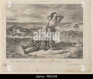 Young Clifford Finding the Body of his Father. Artist: Eugène Delacroix (French, Charenton-Saint-Maurice 1798-1863 Paris). Dimensions: Image: 8 3/4 x 6 3/16 in. (22.3 x 15.7 cm)  Sheet: 10 5/16 x 8 1/16 in. (26.2 x 20.4 cm). Series/Portfolio: Shakespeare, King Henry VI, Part II. Date: 1834. Museum: Metropolitan Museum of Art, New York, USA. - Stock Photo