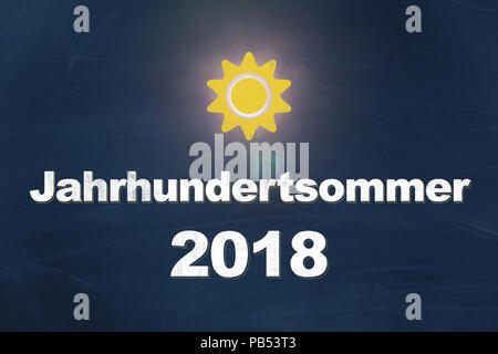 Jahrhundertsommer 2018 written with chalk in german on blue background meaning hottest summer of the century with yellow sun graphic - Stock Photo