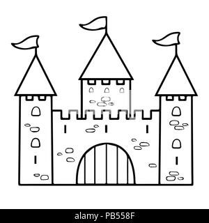 Castle Cartoon Linear Drawing Coloring Outline Contour Simple Sketch Black And