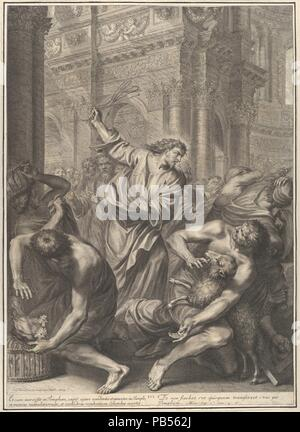 Christ Driving the Merchants from the Temple, from The Passion of Christ, plate 3. Artist: Grégoire Huret (French, Lyon 1606-1670 Paris). Dimensions: Sheet: 19 1/2 × 14 1/16 in. (49.5 × 35.7 cm). Series/Portfolio: The Passion of Christ. Date: 1664. Museum: Metropolitan Museum of Art, New York, USA. - Stock Photo