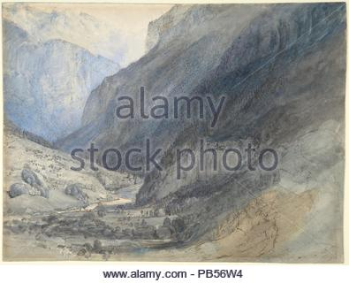 The Valley of Lauterbrunnen, Switzerland. Artist: John Ruskin (British, London 1819-1900 Brantwood, Cumbria). Dimensions: sheet: 7 5/8 x 10 in. (19.4 x 25.4 cm). Date: ca. 1866.  When the celebrated Victorian critic and amateur painter John Ruskin first saw the Alps in 1833, he responded to them as images of sublime beauty, records of divine creation, and scientific geology. In this mountain landscape, the product of a later journey, Ruskin chose a melancholy spot where the low sunlit trees on the left contrast starkly with the steep, shaded rows of pines that line the right. The view was take - Stock Photo