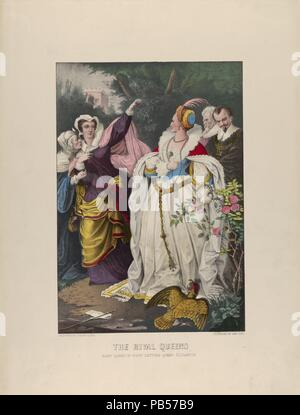 The Rival Queens - Mary Queen of Scots Defying Queen Elizabeth. Artist: Currier & Ives (American, active New York, 1857-1907). Dimensions: Image: 12 1/16 × 8 3/8 in. (30.7 × 21.2 cm)  Sheet: 17 11/16 × 13 1/2 in. (45 × 34.3 cm). Sitter: Mary, Queen of Scots (Linlithgow 1542-1587 Fotheringhay, England); Elizabeth I, Queen of England (1533-1603). Date: 1857-72.  Historical scene. Mary Queen of Scots, at left, raises hand to Queen Elizabeth, at right. Museum: Metropolitan Museum of Art, New York, USA. - Stock Photo