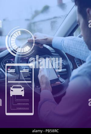 Man driving in car with heads up display interface  and phone - Stock Photo