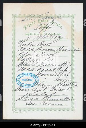 1746 TIFFIN (held by) NIPPON YUSEN KAISHA (at) ABOARD SS KASUGA; (SS;) (NYPL Hades-274380-468655) - Stock Photo