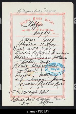 1747 TIFFIN (held by) NIPPON YUSEN KAISHA (at) SS- KAMAKURA MARU (SS;) (NYPL Hades-274449-468724) - Stock Photo