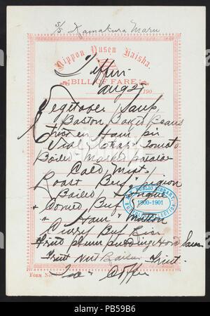 1747 TIFFIN (held by) NIPPON YUSEN KAISHA (at) SS- KAMAKURA MARU (SS;) (NYPL Hades-274458-468733) - Stock Photo