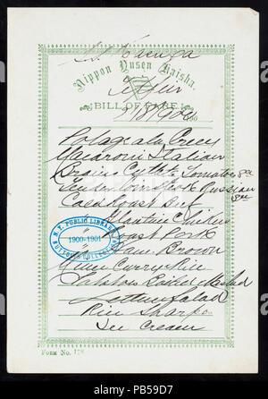 1746 TIFFIN (held by) NIPPON YUSEN KAISHA (at) ABOARD SS KASUGA (SS;) (NYPL Hades-274407-468682) - Stock Photo