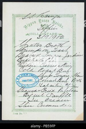 1747 TIFFIN (held by) NIPPON YUSEN KAISHA (at) SS KASUGA (SS;FOREIGN;) (NYPL Hades-274544-468819) - Stock Photo