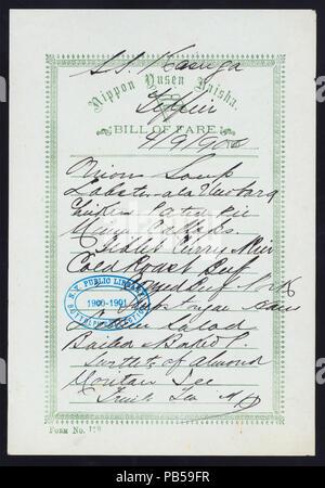 1747 TIFFIN (held by) NIPPON YUSEN KAISHA (at) SS KASUGA (SS;FOREIGN;) (NYPL Hades-274549-468824) - Stock Photo