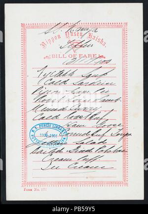 1747 TIFFIN (held by) NIPPON YUSEN KAISHA (at) EN ROUTE ABOARD SS. KASUGA (SS;) (NYPL Hades-274874-475973) - Stock Photo