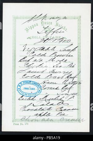 1747 TIFFIN (held by) NIPPON YUSEN KAISHA (at) EN ROUTE ABOARD SS. KASUGA (SS;) (NYPL Hades-274965-476064) - Stock Photo