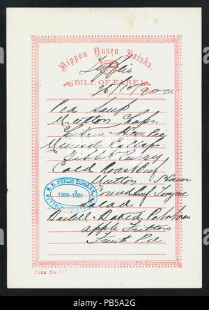 1747 TIFFIN (held by) NIPPON YUSEN KAISHA (at) EN ROUTE ABOARD SS. KASUGA (SS;) (NYPL Hades-274995-476094) - Stock Photo