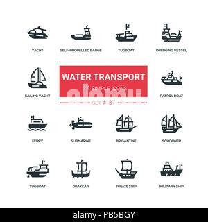 Water transport - flat design style icons set - Stock Photo
