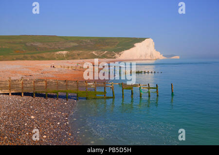 Seven Sisters cliffs East Sussex uk between Seaford and Eastbourne viewed from Cuckmere haven beach - Stock Photo