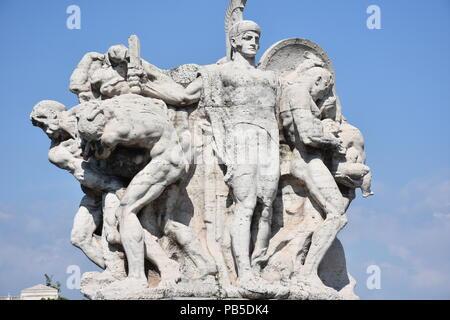 Rome,  marble group on the Vittorio Emanuele II bridge over the Tiber river. - Stock Photo