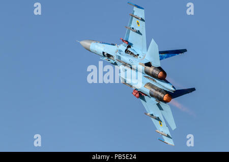 Ukrainian SU-27 Flanker jet at the Royal International Air Tattoo - Stock Photo