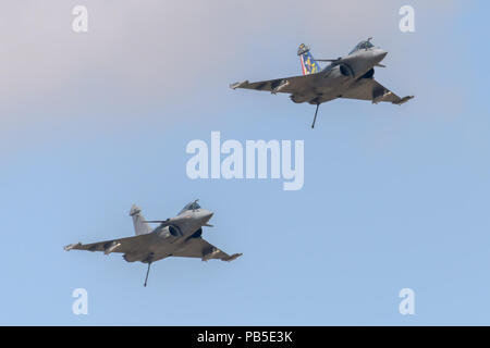 French Rafale fighter jet displaying at the Royal International Air Tattoo in July 2018 - Stock Photo