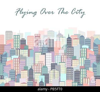 City landscape vector illustration. Urban skyline. Background with buildings in flat style. City poster or banner - Stock Photo