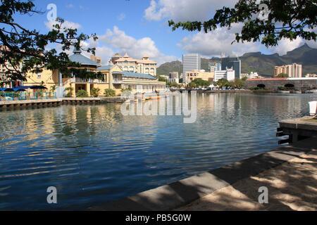 Urban skyline of Port Louis, Mauritius - Stock Photo