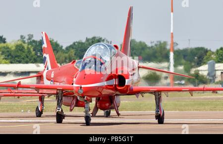 Royal Air Force Red Arrows BAE Systems Hawk T1/T1A jets taxiing at RAF Fairford ready to perform they're amazing routine at RIAT 2018 - Stock Photo