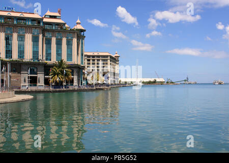 The Caudan Waterfront near the harbor of Port Louis, Mauritius - Stock Photo