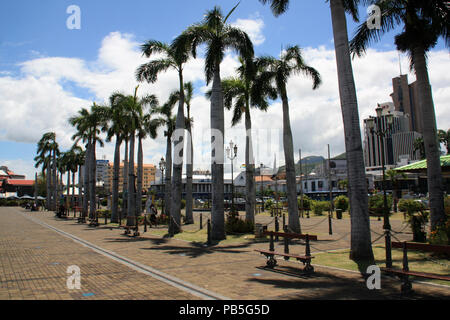 Palm tree lined main square at the harbor waterfront in Port Louis, Mauritius - Stock Photo