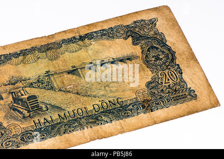 20 dong bank note of Vietnam. Dong is the national currency of Vietnam - Stock Photo