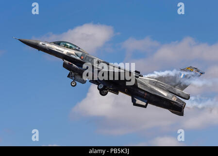 Greek Lockheed Martin F-16 'Zeus' at Royal International Air Tattoo, RIAT 2018, RAF Fairford. Hellenic Air Force F-16C block 52+ with conformal tanks - Stock Photo
