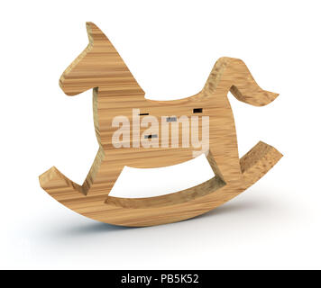 3d rocking horse symbol - Stock Photo