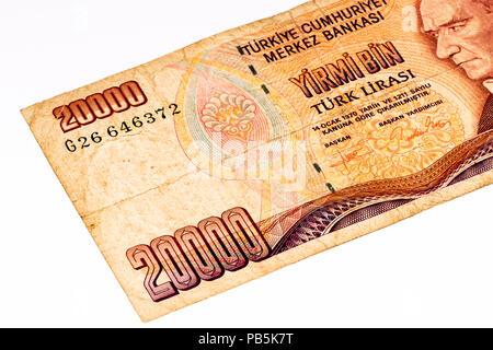 20000 Turkish liras bank note. Turkish lira is the national currency of Turkey - Stock Photo