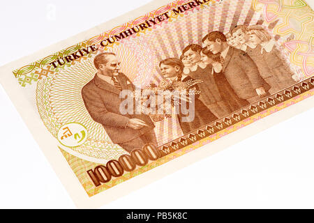 100000 Turkish liras bank note. Turkish lira is the national currency of Turkey - Stock Photo