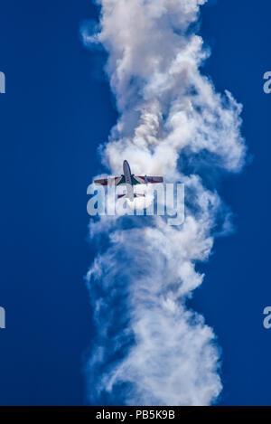 Frecce Tricolori aerobatic demonstration team of the Italian Aeronautica Militare Italian Air Force air display team flying Aermacchi MB-339-A/PAN jet - Stock Photo