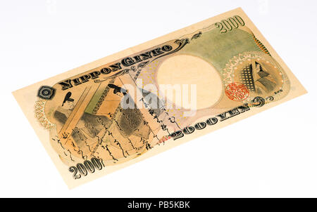 2000 Japanese yens bank note. Japanese yen is the national currency of Japan - Stock Photo