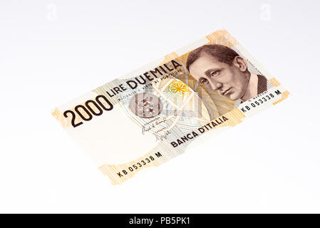 2000 italian liras. Italian liras is the former currency of Italy - Stock Photo