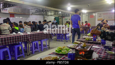 Manila, Philippines - Apr 13, 2017. People eating at Chinese Seafood Restaurant of Seaside Dampa Macapagal in Manila, Philippines. - Stock Photo