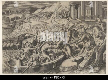 The abduction of Helen; battle scene on a shore with two men pulling Helen into a boat at center and another man pulling on her drapery in the opposite direction. Artist: Marcantonio Raimondi (Italian, Argini (?) ca. 1480-before 1534 Bologna (?)); After Raphael (Raffaello Sanzio or Santi) (Italian, Urbino 1483-1520 Rome). Dimensions: Sheet: 11 9/16 x 16 5/8 in. (29.4 x 42.2 cm). Date: ca. 1520-27. Museum: Metropolitan Museum of Art, New York, USA. - Stock Photo