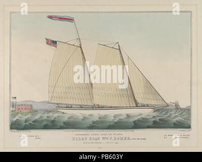 Extraordinary Express Across the Atlantic - Pilot Boat William J. Romer, Captain McGuire, Leaving for England February 9th, 1846. Dimensions: Image: 8 1/4 x 12 11/16 in. (21 x 32.2 cm)  Sheet: 13 7/16 x 18 1/16 in. (34.1 x 45.9 cm). Lithographer: Lithographed and published by Nathaniel Currier (American, Roxbury, Massachusetts 1813-1888 New York). Date: 1846.  A two-masted sailing vessel travels to the right through rough waves. Another ship can be seen to the right in the background and a building stands on an island at left. An American flag flies from the ship's stern as well as from a pole - Stock Photo