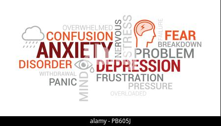 anxiety, panic and depression tag cloud with words, concepts andanxiety, panic and depression tag cloud with words, concepts and icons stock photo