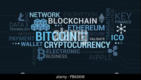 Cryptocurrencies, blockchain and bitcoin tag cloud with concepts and icons - Stock Photo