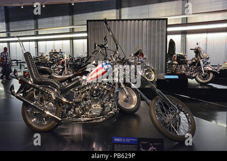 A reproduction of the iconic Easy Rider chopper on display at the Harley Davidson Motorcycle Museum in Milwaukee. - Stock Photo