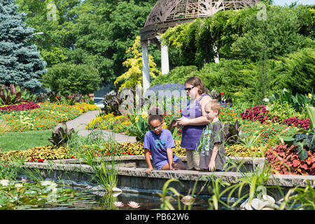Three people gazing into the pond in the Sunken garden in Lincoln Nebraska USA on July 3rd 2018 - Stock Photo