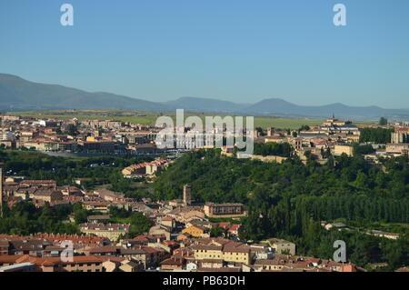 Beautiful Panoramic Photo Of The Center Of Segovia And Its Aqueduct In Segovia. Architecture, Travel, History. June 18, 2018. Segovia Castilla Leon Sp - Stock Photo