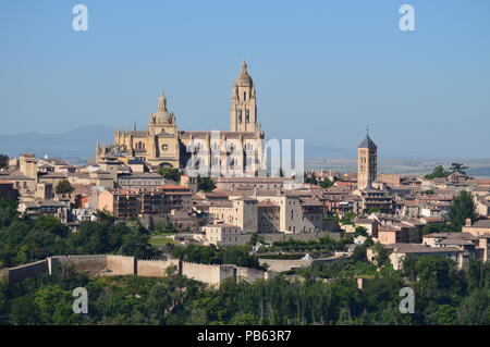 Beautiful Panoramic Photo Of The Center Of Segovia With Its Wall And Majestic Cathedral In Segovia. Architecture, Travel, History. June 18, 2018. Sego - Stock Photo