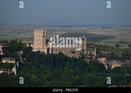 Beautiful Panoramic Photo Of Alcazar Castle In Segovia. Architecture, Travel, History. June 18, 2018. Segovia Castilla Leon Spain. - Stock Photo