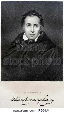 Allan Cunningham portrait 1784 –1842 was a Scottish poet and author, antique engraving from 1832 - Stock Photo