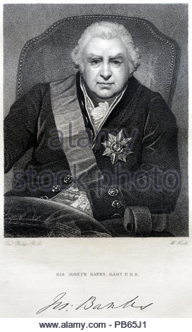 Sir Joseph Banks portrait, 1st Baronet, 1743 – 1820 was an English naturalist, botanist and patron of the natural sciences, antique engraving from 1829 - Stock Photo