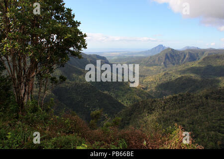 Spectacular view from a viewing point, overlooking the Black River Gorges National Park, Mauritius, towards the north - Stock Photo