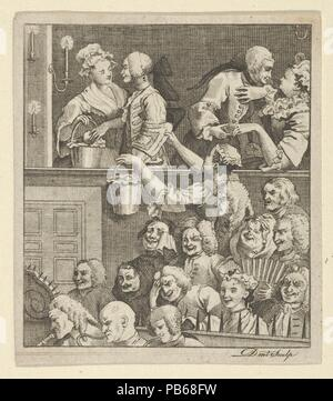 The Laughing Audience. Artist: After William Hogarth (British, London 1697-1764 London). Dimensions: Sheet: 3 1/16 x 2 11/16 in. (7.8 x 6.9 cm). Engraver: Dent (British, active ca. 1800). Date: ca. 1800. Museum: Metropolitan Museum of Art, New York, USA. - Stock Photo