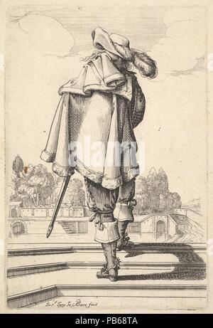 A gentleman, seen from behind, walking up a parapet, with a cloak over his left shoulder, wearing a plumed hat and boots with spurs. Artist: Abraham Bosse (French, Tours 1602/1604-1676 Paris); After Jean de Saint-Igny (French, Rouen ca. 1595/1600-1647 Paris). Dimensions: Sheet: 7 7/16 × 5 1/16 in. (18.9 × 12.8 cm)  Plate: 5 9/16 × 3 3/4 in. (14.1 × 9.5 cm). Series/Portfolio: The Garden of the French Nobility In Which One Can Pick Up Their Way of Dressing  (Le Jardin de la Noblesse Françoise dans lequel ce peut ceuillir leur maniere de Vettements). Date: 1629. Museum: Metropolitan Museum of Art - Stock Photo